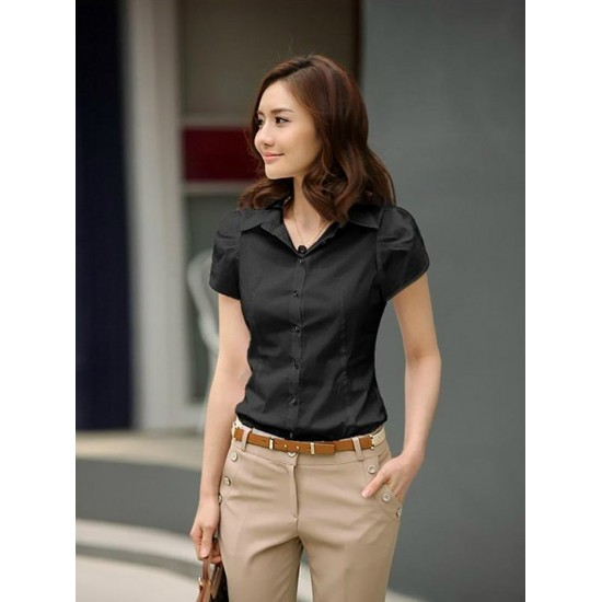 Women Fashion Short Sleeves Summer Cotton Shirt-Black image