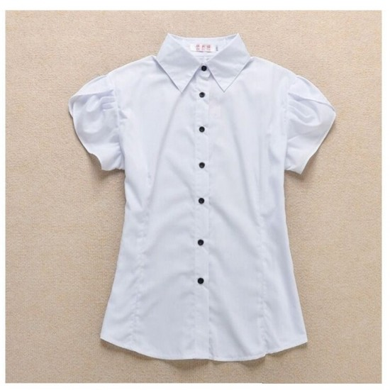Women Fashion Short Sleeves Summer Cotton Shirt-White image