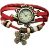 Trending Style Leather Straps Vintage Red Colored Watch image