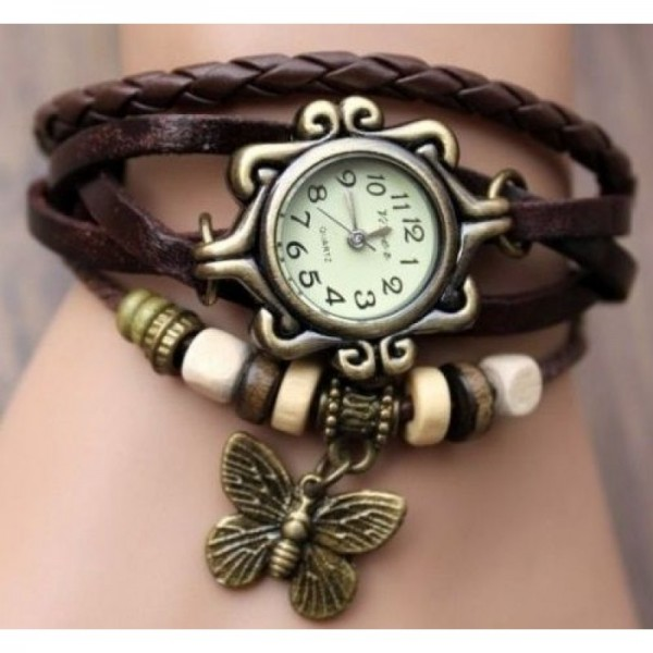 Trending Style Leather Straps Vintage Brown Colored Watch image