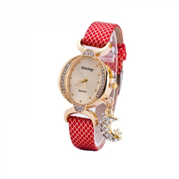 Trendy Fashion Oval Shaped Leather Bracelet Moon Star Red Watch image