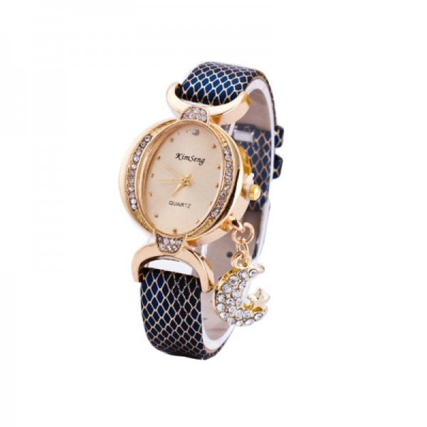 Trendy Fashion Oval Shaped Leather Bracelet Moon Star Blue Watch image