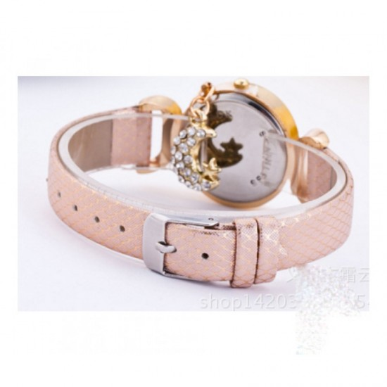 Trendy Fashion Oval Shaped Leather Bracelet Moon Star Pink Watch image