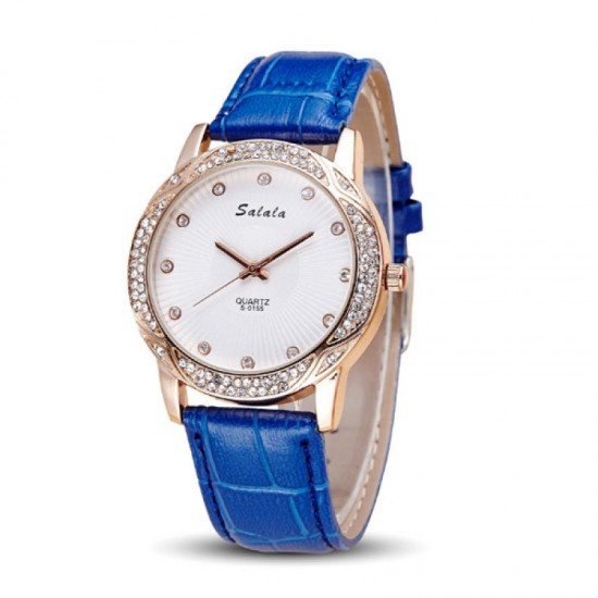 Quartz Leather Belt Waterproof Women Watch-Blue image