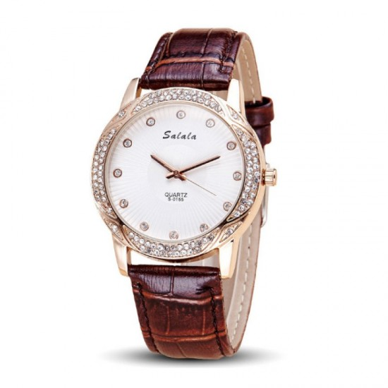 Quartz Leather Belt Waterproof Women Watch-Maroon image