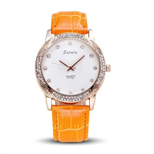 Quartz Leather Belt Waterproof Women Orange Watch image