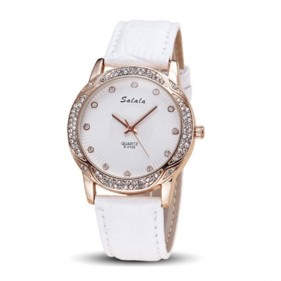 Quartz Leather Belt Waterproof Women Watch-White image
