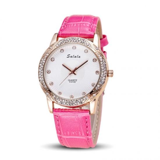 Quartz Leather Belt Waterproof Women Watch-Pink image