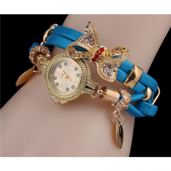 Stylish Bow-knot Pendant Blue Young Girls Watch image