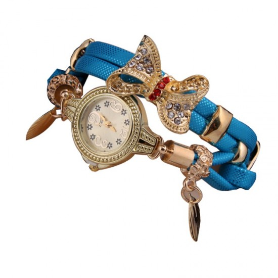 Stylish Bow-knot Pendant Young Girls Watch-Blue image