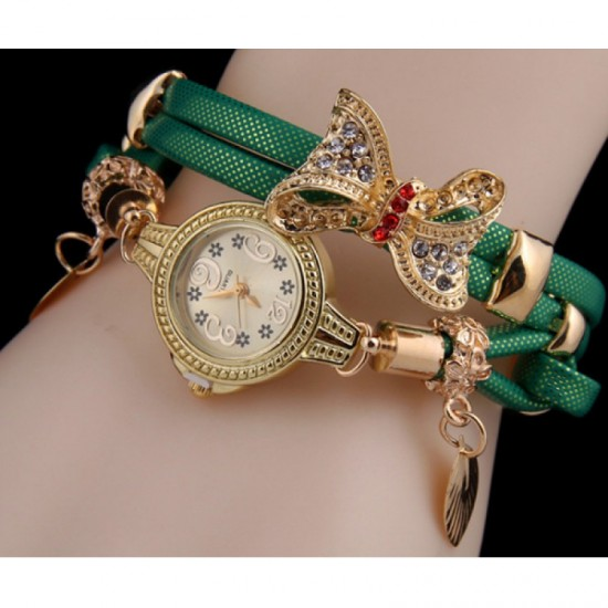Stylish Bow-knot Pendant Young Girls Watch-Green image