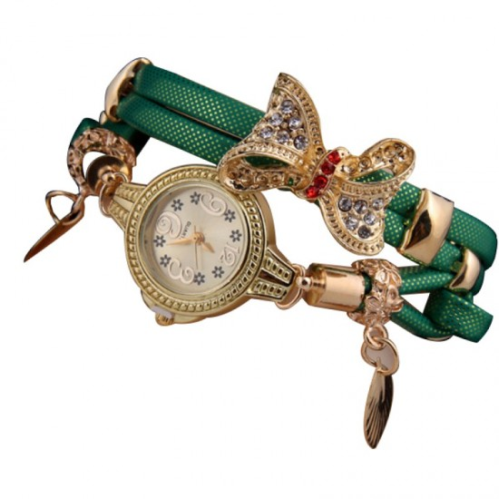 Stylish Bow-knot Pendant Young Girls Watch-Green image