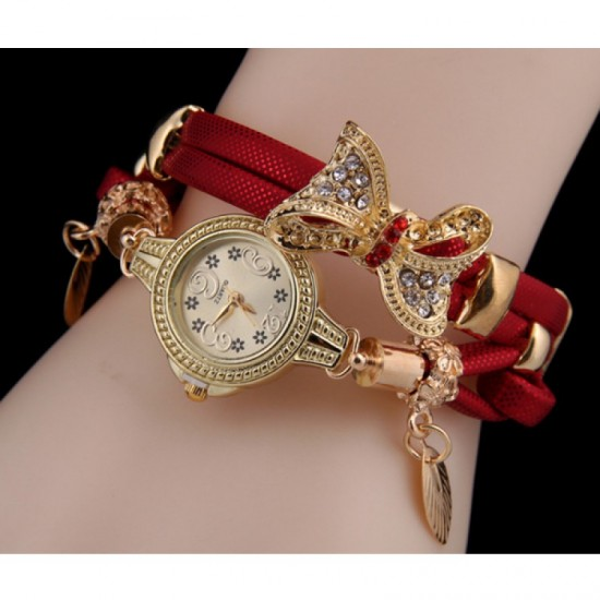 Stylish Bow-knot Pendant Young Girls Watch-Red image