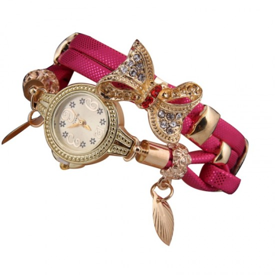 Stylish Bow-knot Pendant Young Girls Watch-Pink image