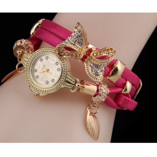 Stylish Bow-knot Pendant Young Girls Watch-Pink image