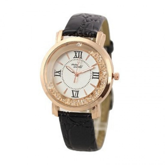 Women Fashion Ladies Black PU Leather Watch-Black image
