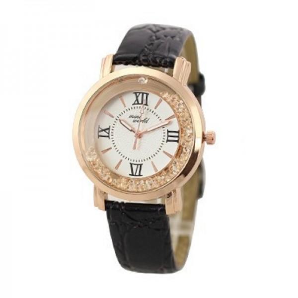 Fashion Black Color Ladies Black PU Leather Watch image
