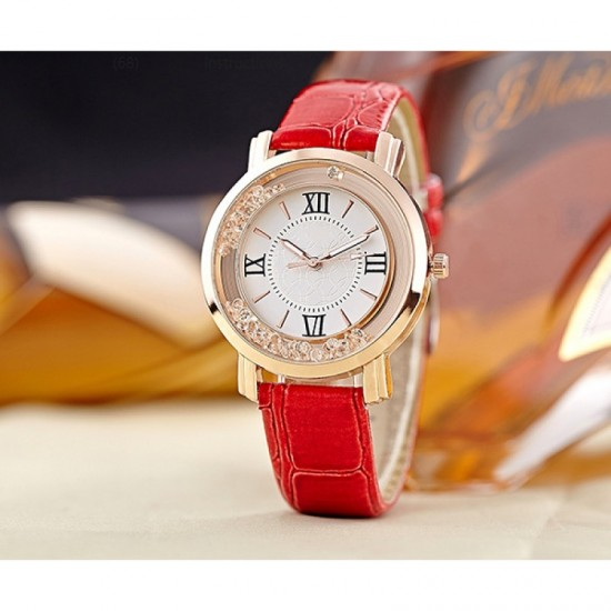 Women Fashion Ladies Red PU Leather Watch-Red image