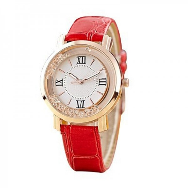 Fashion Red Color Ladies Black PU Leather Watch image
