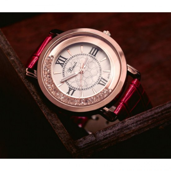 Women Fashion Ladies Pink PU Leather Watch-Pink image