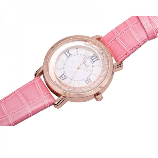 Fashion Pink Color Ladies Black PU Leather Watch image