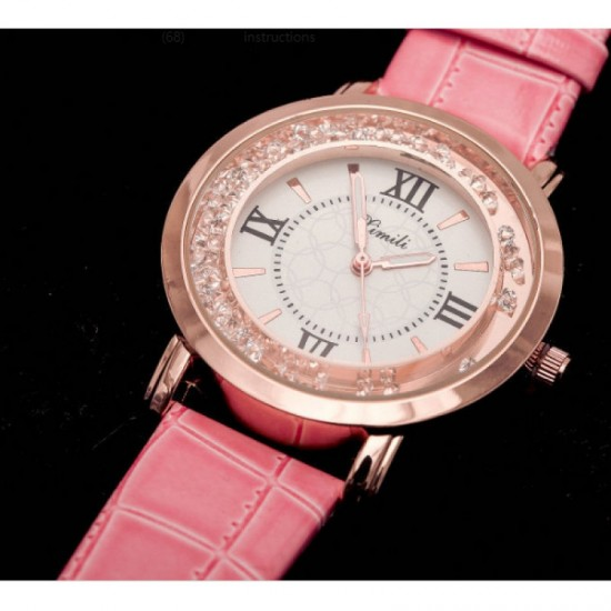 Women Fashion Ladies Pink PU Leather Watch-Pink image