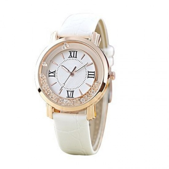 Women Fashion Ladies Black PU Leather Watch-White image