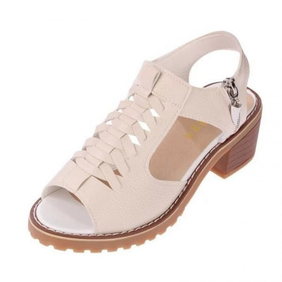 Women Fashion medium Heel With Side Zipper Sandals-Brown image