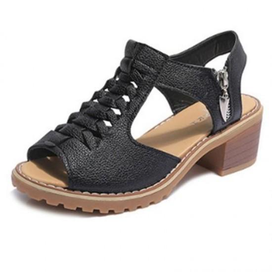 Women Fashion medium Heel With Side Zipper Sandals-Black image