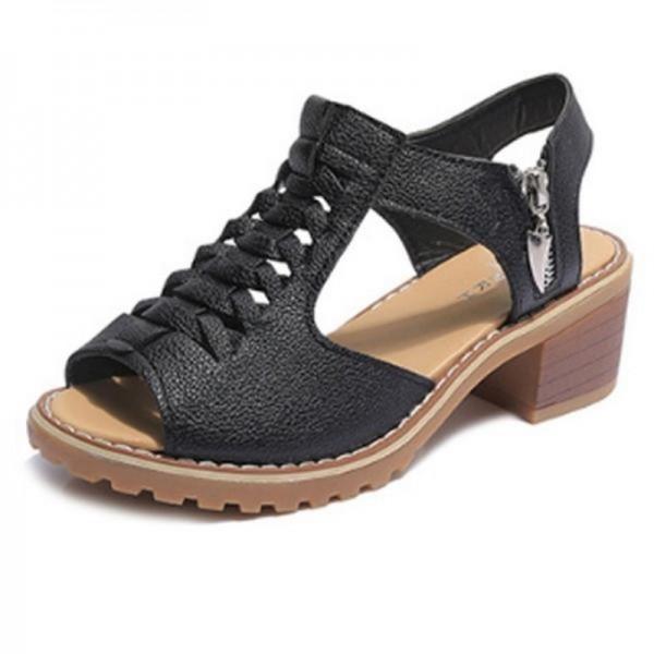 Side Zipper Breathable Stylish Waterproof Black Sandals image