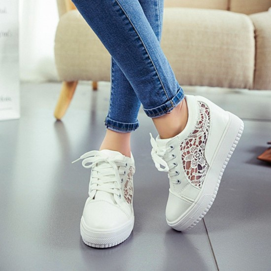 High Slope Hollow Breathable Mesh Sneaker Shoes-White image