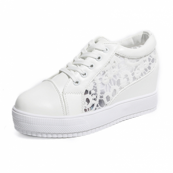 White Colored High Slope Hollow Breathable Mesh Sneaker Shoes image