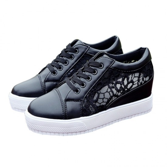 High Slope Hollow Breathable Mesh Sneaker Shoes-Black image