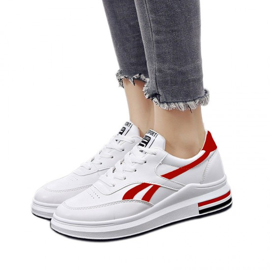 Red Strips On White Color Casual Shoes With Thick Bottom-Red image