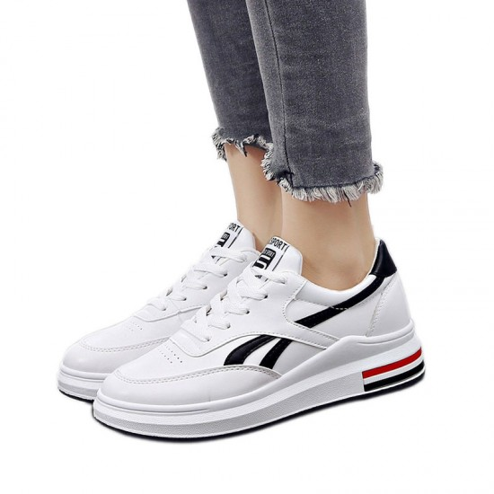 Black Strips On White Color Casual Shoes With Thick Bottom-Black & White image
