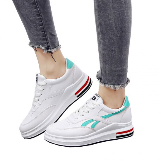Green Strips On White Color Casual Shoes With Thick Bottom-Green image