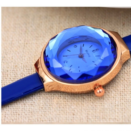 Crystal Dial Fine Glass European Style Leather Band Watch-Blue image