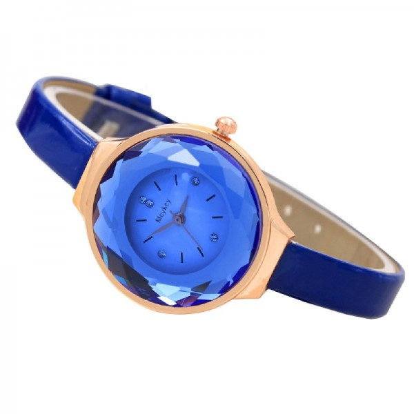 Crystal Dial Fine Glass European Style Blue Colored Leather Watch image