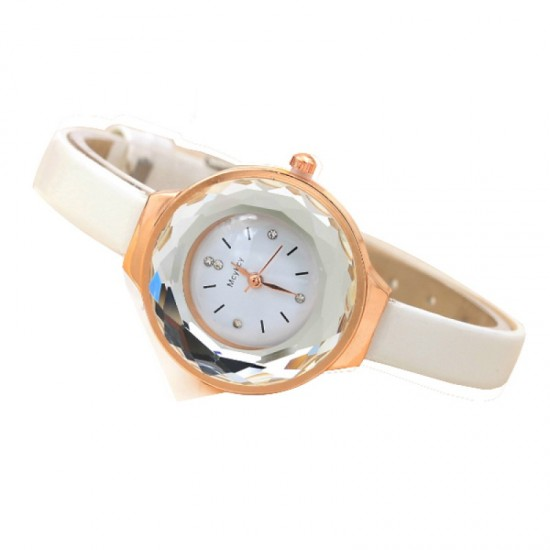Crystal Dial Fine Glass European Style Leather Band Watch-White image