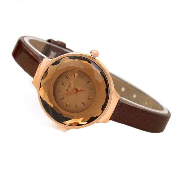 Crystal Dial Fine Glass European Style Brown Colored Leather Watch image