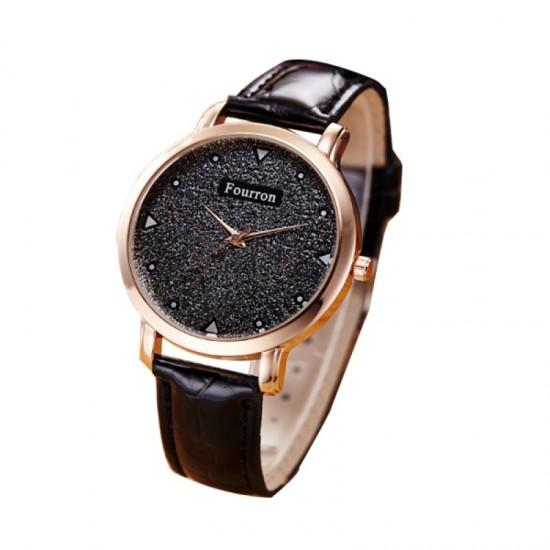 Women Fashion Ultra Thin Leather Band Watch-Black image