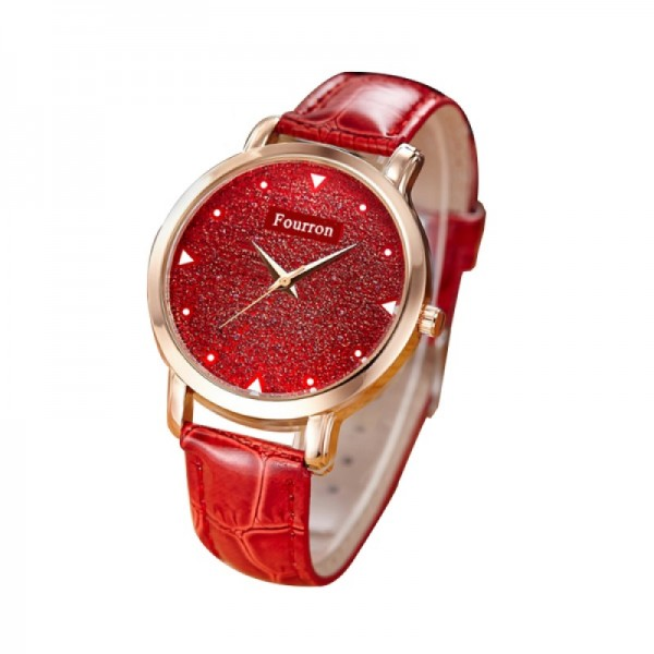 Ultra Thin Red Color Fashion Leather Wrist Watch image