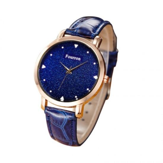 Women Fashion Ultra Thin Leather Band Watch-Blue image
