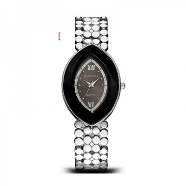 Quartz Oval Eye Shape Elegant Women Choice Silver Color Watch image
