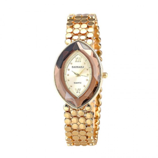 Quartz Oval Eye Shape Elegant Women Choice Watch-Gold image