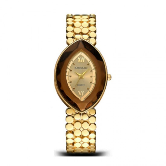 Quartz Oval Eye Shape Elegant Women Choice Watch-Gold image