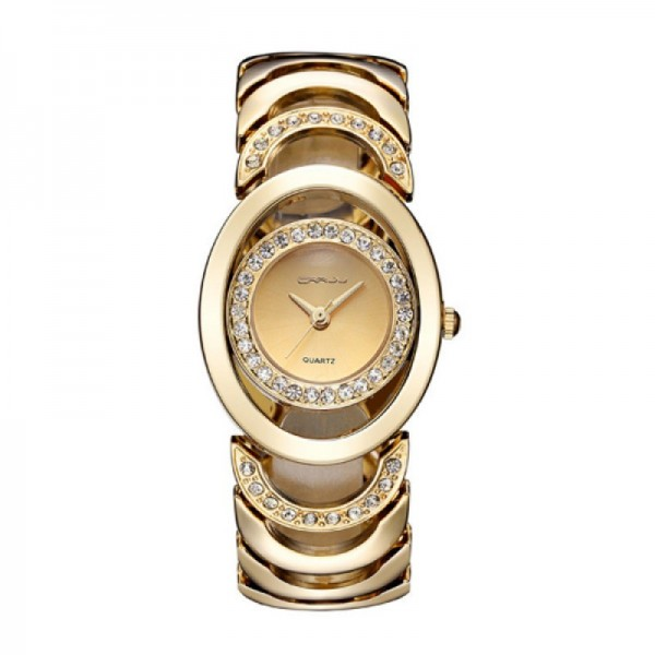 Elegant Steel Belt Diamond Ladies Golden Color Bracelet Watch image