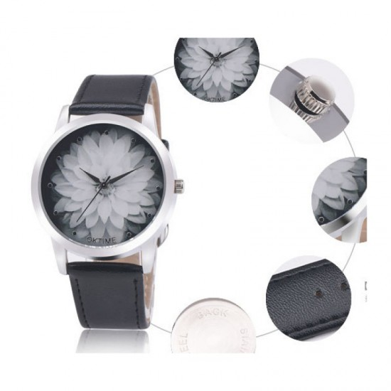 Ladies Black Colored Belt Lotus Leather OKTIME Watch-Black image