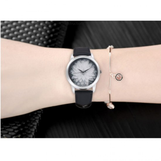Ladies Black Colored Belt Lotus Leather OKTIME Watch-Black image