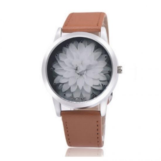 Ladies Black Colored Belt Lotus Leather OKTIME Watch-Brown image